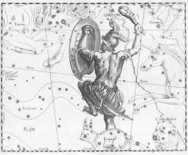 Constellation d'orion et lièvre